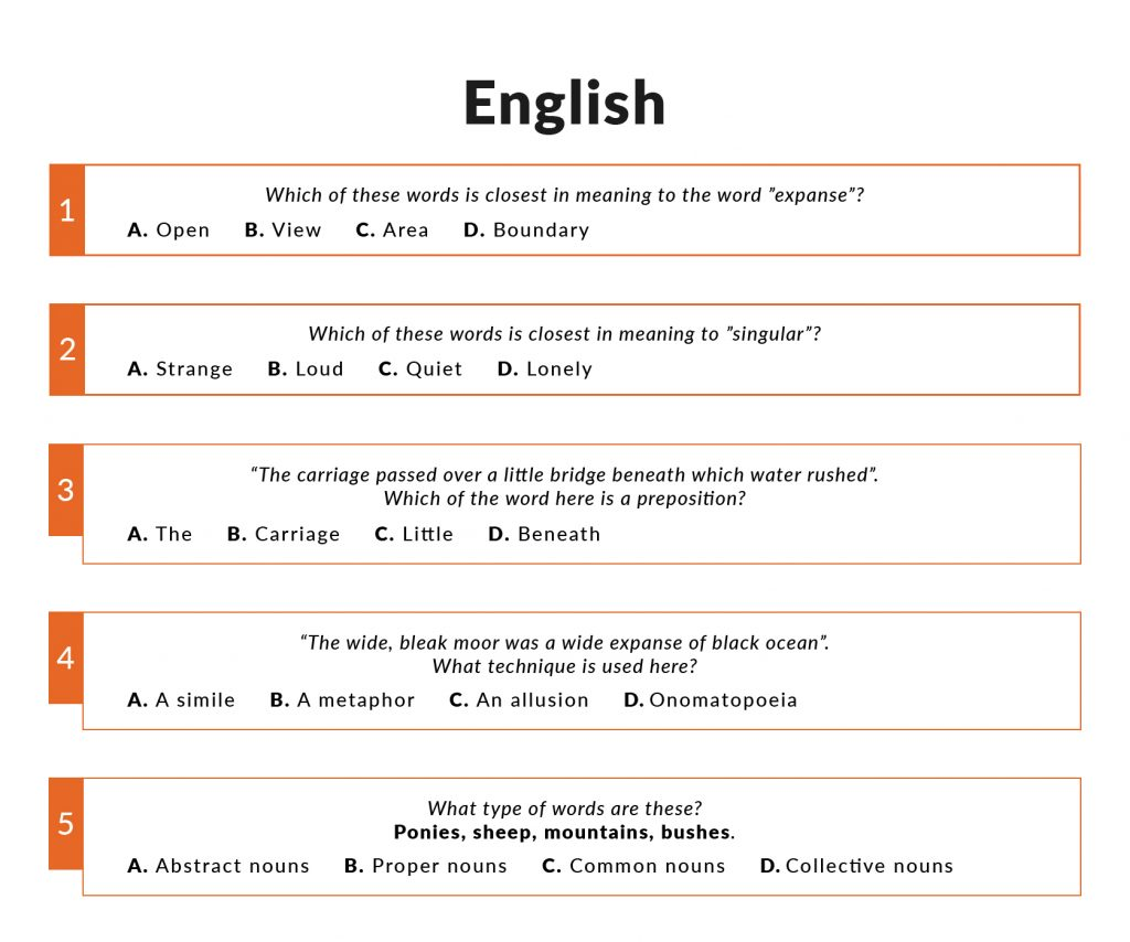 Examples of English questions in the 11 plus