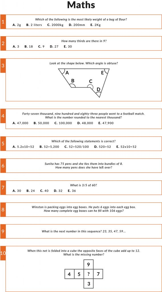 Examples of Maths questions in the 11 plus