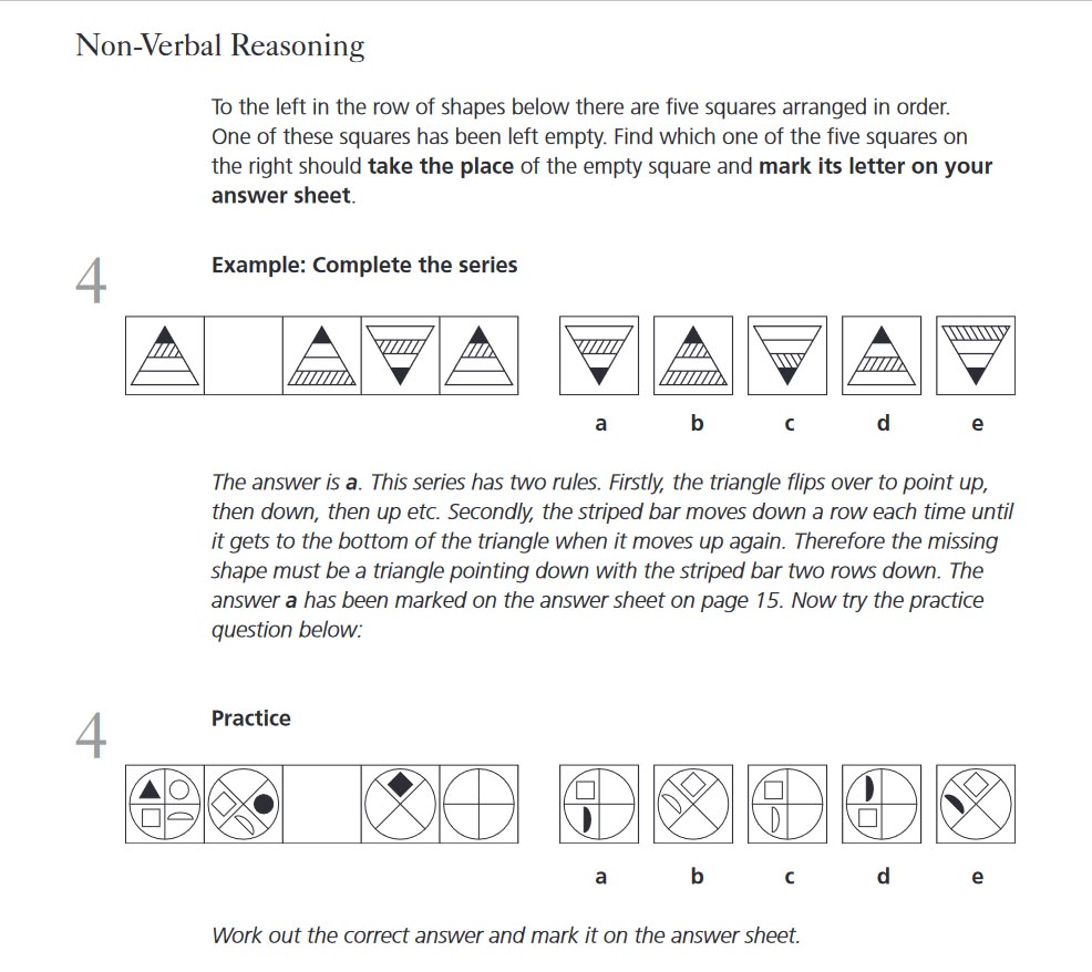 Non Verbal Reasoning Kent Test Familiarisation