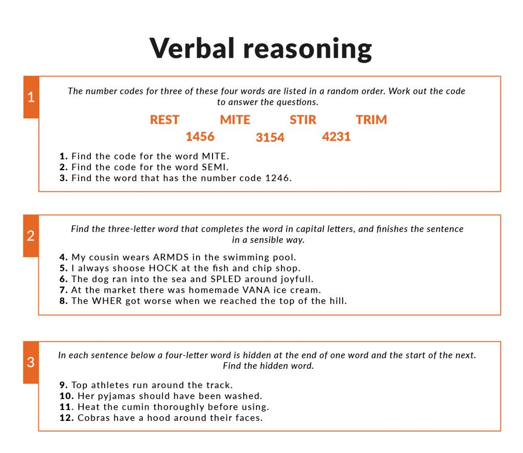 Example of Verbal Reasoning questions in the 11 plus
