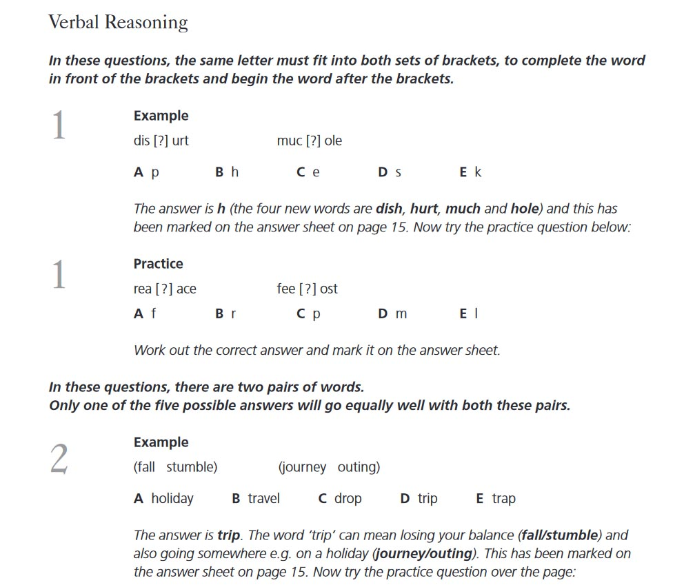 Verbal Reasoning Kent Test Familiarisation